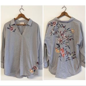 Skies Are Blue Floral Embroidered Pop Over Blouse